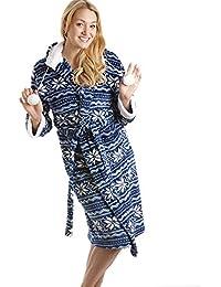 Camille - Robe táctil de seda suave nórdica azul y blanca