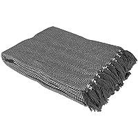 Country Club Como Cotton Throw/Blanket with Herringbone Design, Grey, 228 x 254 cm