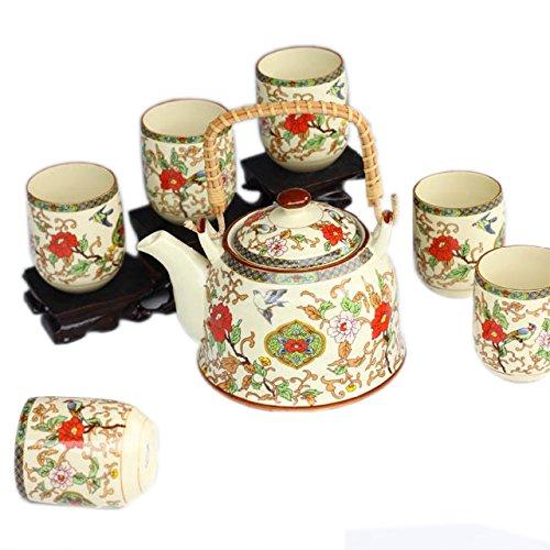 ufengke® Jingdezhen Bone China Ringgriff Hundgemalt Blumen und Vogel Tee-Set