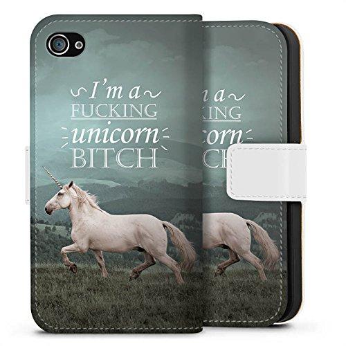 Apple iPhone X Silikon Hülle Case Schutzhülle Einhorn Unicorn Sprüche Sideflip Tasche weiß