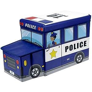 Promobo - Pouf Tabouret Coffre De Rangement Enfant Forme Voiture De Police Bleu