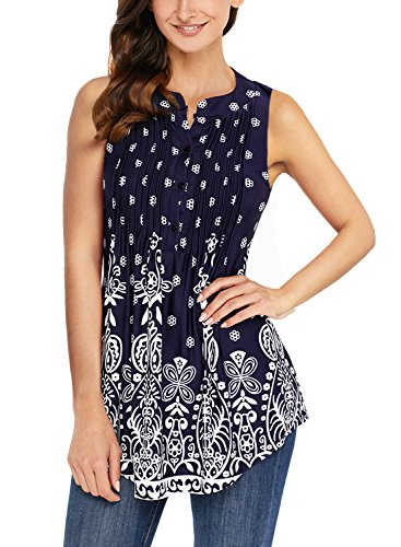 Happy Sailed Womens Casual Floral Print Sleeveless Summer Tunic Tops