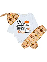 Disfraces de día de acción de gracias bebé Mi primer día de pavo y mameluco y pantalón largo 3 piezas de ropa conjunto para niño
