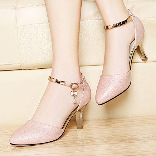LGK&FA Estate Donna Sandali primavera ed estate ha sottolineato Stilettos All-Match in sandali fibbia Scarpe eleganti in pelle parola 3 argento 35 Pink