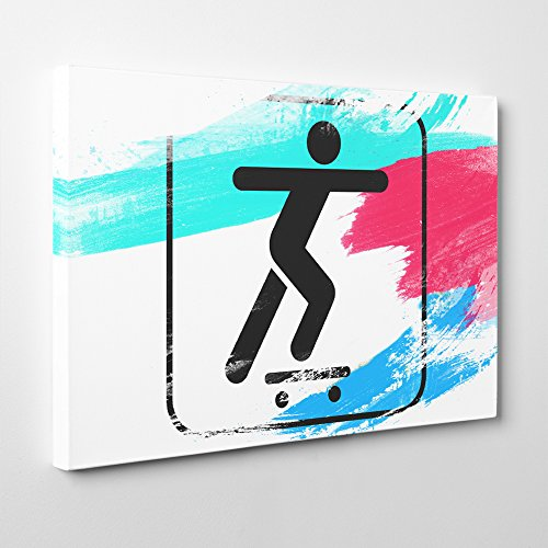 Arty Pie Canvas Print 24 x 16 Inch (60 x 40 cm) Skateboard Sign (1) V2, Wood, Multi-Colour, 24 x 16-Inch