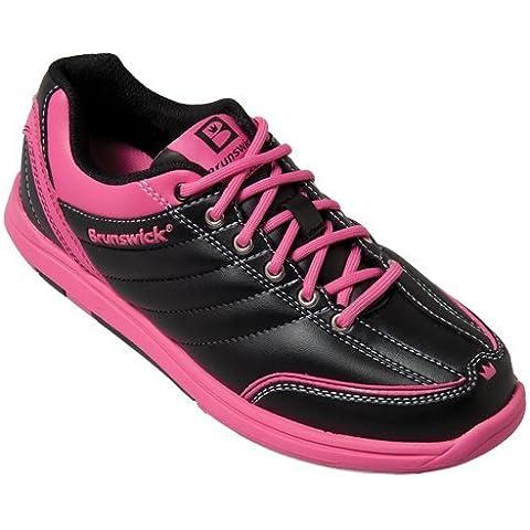 Brunswick Diamond - Zapatos para bolera de mujer, color negro y rosa Negro y rosa Talla:38
