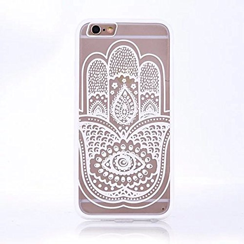 iPhone Case Cover Finger Flowers Printed Design Schütz PC harte rückseitige Abdeckung Case + TPU Bumper für iPhone SE 5S 6 6S plus ( Color : White , Size : IPhone 6S Plus ) White