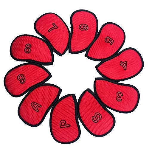 Bequem Golf Club Protector Thick Kunstleder Golf Eisen Head Covers Set Headcover Fit Die Meisten Golf Putter, 10 stücke dauerhaft (Farbe : Rot, Größe : Free) -