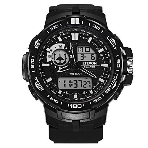 DAGE Herren 'Luftwaffe' Outdoor Sport Uhren mit Schwarzem Silikonband und Großem Display, Wasserdicht LED Licht Analog Digital Armbanduhr