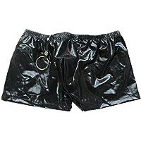 Tiaobug Herren Slip Unterhose Lack Leder Wetlook Männer Boxershorts Unterwäsche