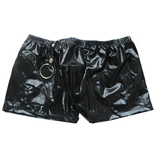 Neue Herren-leder-pants (Tiaobug Herren Slip Unterhose Lack Leder Wetlook Männer Boxershorts Unterwäsche (One Size, Schwarz))