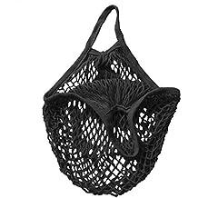 Sungpunet, borsa a secchiello riutilizzabile in rete di cotone biologico, colore: nero