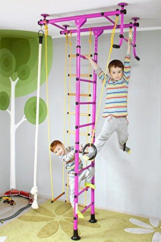 NiroSport FitTop M1 Indoor Klettergerüst für Kinder Sprossenwand für Kinderzimmer Turnwand Kletterwand, TÜV geprüft, kinderleichte Montage, max. Belastung bis ca. 130 kg (Rosa) - M1 Video