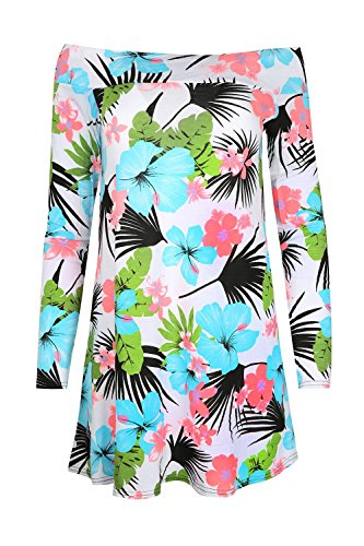 Be Jealous -  Vestito  - Casual - Maniche lunghe  - Donna Turquoise Pink Floral