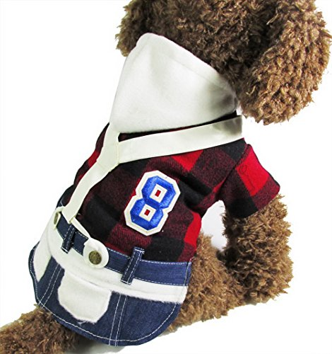 zunea College Plaid Hund Overall Fleece Warm Puppy -
