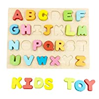 Mailesi ABC Wooden Letters Blocks Alphabet Puzzle Board Games Kids Toddlers Preschool Early Learning Educational Toys