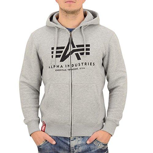 Alpha Industries Zip Hoody Basic , Größe:2XL, Farbe:grey heather (Zip Front Hooded Sweatshirt Shirt)