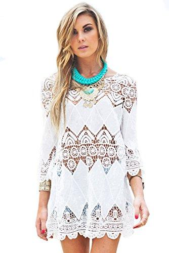Mesdames bohémien Crochet Plage Tunique (Taille unique, blanc) Blanc