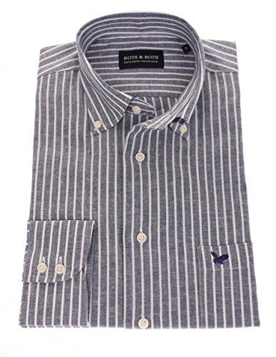 778610 - Bots & Bots Shirt - 70% Cotton / 30 % Linnen - Buton Down - Normal Fit Navy