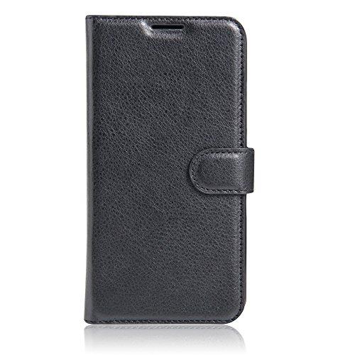 Coque Samsung Galaxy A7 (2017) - EUGO Flip Housse Étui coque de protection en Luxe cuir pour + 1 × Noir Stylet d'Ecran Tactile - Noir Noir
