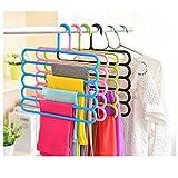 #8: SYGA 2 Pcs Multi-Purpose Closet Organizer Plastic 5-Tier Trousers Pants Tie Rack Hanger(Rendom Color)