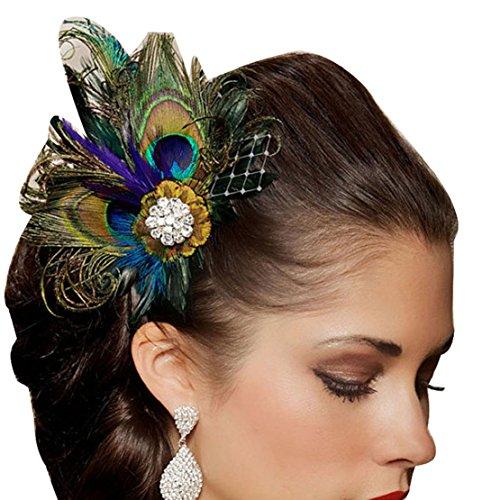 Tonsee Strasssteine Peacock Feather Braut Hochzeit Haar Clip Pin Head Haarnadel - Braut-haar Pins