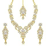 #1: Sukkhi Gold Plated Australian Diamond Choker Necklace With Drop Earrings And Mangtikka Set or Women