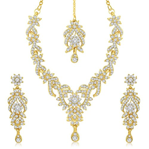Sukkhi Gold Plated Australian Diamond Choker Necklace With Drop Earrings...