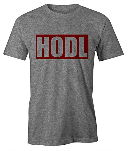 RiotBunny HODL Bitcoin Cryptocurrency BTC LTC Digital Currency T-Shirt Camiseta Hombres Gris Large