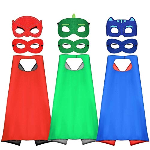 Bascolor Superhelden Cosplay Kostüme für Kinder inklusive 3Stk. Superhelden Umhang und 6Stk. Superhelden Masken für Jungen Mädchen Geburtstag Party
