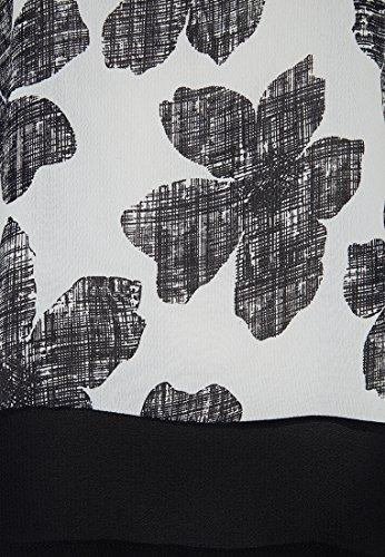 boxy Bluse Blüten Creme-Schwarz