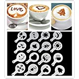 CPEX 16 Pcs/set Latte Art DIY Coffee Stencils-Creative Reusable Funny Pattern-Great for Make Fancy Cappuccino's, Coffee, Latte's or Hot Chocolate