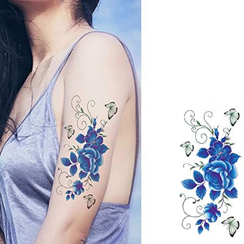 3 stücke-Tattoo Aufkleber Bunte Lotus Design weibliche Schulter Body Art wassertransport Tattoo Aufkleber Mode 3 stücke- (Und Glitter Spray Haar Body)