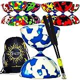 Flames 'N Games Juggle Dream Jester PRO Diabolo + Bastoncini in Fibra di Vetro Inclusi Diablo Rope Travel Bag