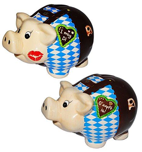 Unbekannt 2 TLG. Set: große Spardosen -  Sparschwein Oktoberfest - Bayern  - stabile Sparbüchse aus Porzellan / Keramik -lustig witzig - Tracht Deko Accessoires - ()