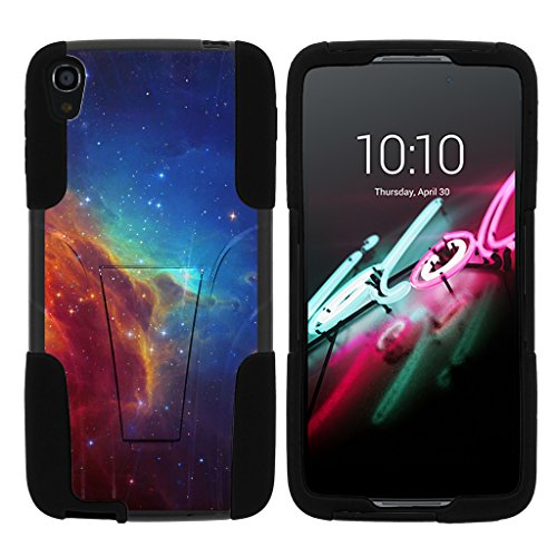 turtlearmor | Alcatel OneTouch Idol 3 Fall (14 cm) [Gel Max] Hybrid Dual Layer Hard Shell Ständer Silikon Fall -, Colorful Nebula Galaxy - One Camo Alcatel Touch