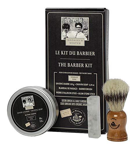 Französisches Rasier-Set mit Rasierseife Rasierpinsel Alaunstein