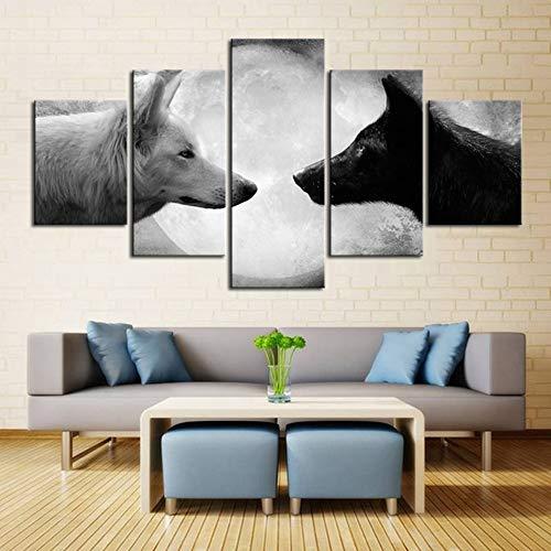 Preisvergleich Produktbild ZQDMYB Wolf Malerei Auf Leinwand Wände Wolf Tapete Geschichte Von Schwarz und Weiß Wolf Tier Bilder Für Wohnzimmer Decor,  20X35 20X45 20X55Cm