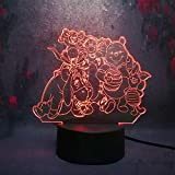 Cute dibujos animados winnie the pooh eeyore tiger 3d night light led 7 color touch remoto usb boy regalo de navidad dormitorio lámpara de mesa