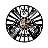 Lyy Rock Música Jugar La Guitarra Vinilo Reloj Pared reloj Fresco Habitación Interior Decoración LP Mano Arte? 12 pulgadas