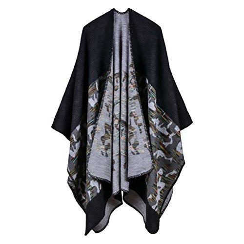 Donna Poncho Cape Scialle Elegante Reversibile Cachemire Moda Casual Knitted Camouflage Pattern Cappotto Autunno Inverno Top Poncho Capes Mantellina Cardigan Taglie Forti Nero