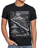A.N.T. Sternenzerstörer Herren T-Shirt Blaupause Raumschiff, Größe:M, Farbe:Schwarz