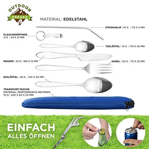 OUTDOOR FREAKZ Outdoor Reisebesteck und Campingbesteck aus Edelstahl mit Neoprenhülle (4er Set ++) - 2