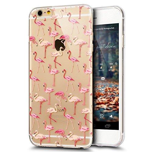 JAWSEU Coque Etui pour iPhone 7 Plus,iPhone 7 Plus Coque Transparent en Silicone,iPhone 7 Plus Étui Tpu Cristal Clair,Ultra Slim Mince Coloré Créatif Lovely Flamingo Motif Silicone Gel Protecteur Télé Flamingo 12