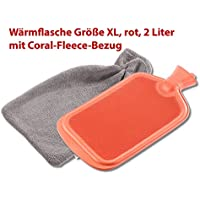 PEARL Kinder Wärme Flaschen: XL-Wärmflasche, 2 Liter, inklusive flauschigem Coral-Fleece-Bezug (Bettwaermer-Flasche) preisvergleich bei billige-tabletten.eu