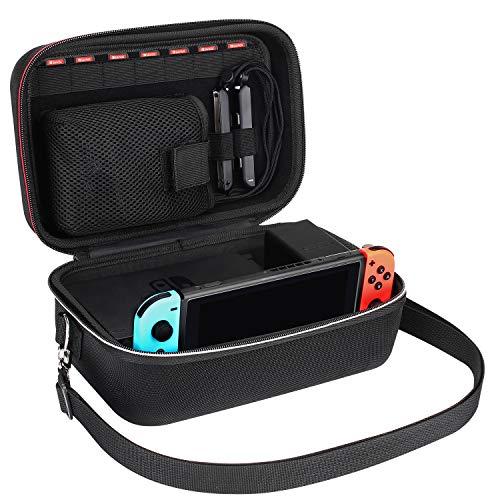 Lifeasy Tragetasche für Nintendo Switch,Reisetasche Stoßfestes Portable Schutztasche für Nintendo Switch Konsole,Dock,Netzteil, Grip und Joy-Con, 7 spiele, Gurt und Kabel -