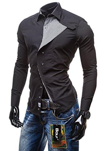 BOLF - Chemise casual – Manches longues – élégant - BOLF 5746 – Homme Noir