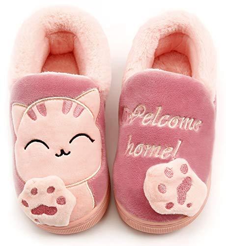 Zapatillas de Estar por Casa Niña Niño Zapatos Pantuflas Invierno Bebé Interior Caliente Peluche Forradas Slippers Rosa(Pink) 30/31 EU/220CN