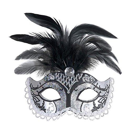 Widmann 6584N, venezianische Augen- oder Gesichtsmaske mit Edlestein, Federn, Perlen und silbernen Glitzer