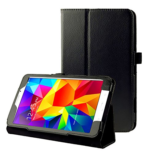 subtel® Smart Case kompatibel mit Samsung Galaxy Tab 4 7.0 (SM-T230 / SM-T231 / SM-T235) Kunstleder Schutzhülle Tasche Flip Cover Case Etui schwarz